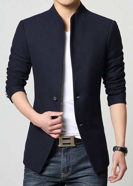 Stand Collar Single-Breasted Solid Color Simple Long Sleeve ...