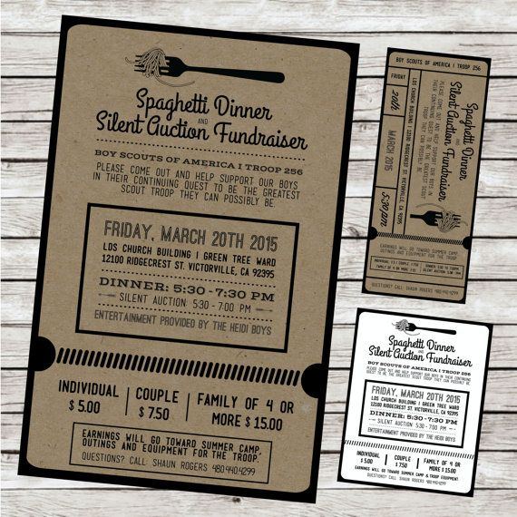 Cute fundraiser invites and auction forms Fundraiser Ticket – Dinner Ticket Template