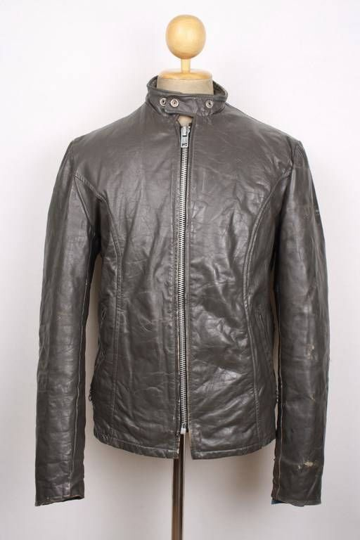 Vtg 60s EXCELLED Grey Leather Motorcycle Jacket CAFE RACER Fleece Lining 40