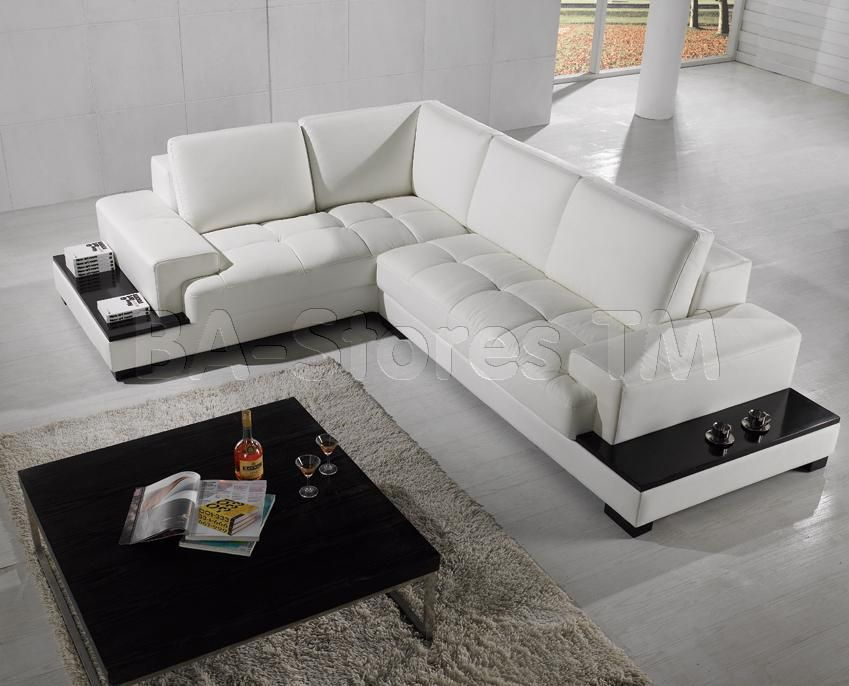 Phenomenal Modern Sectional Sofa With Attached Veneer End Tables Pabps2019 Chair Design Images Pabps2019Com