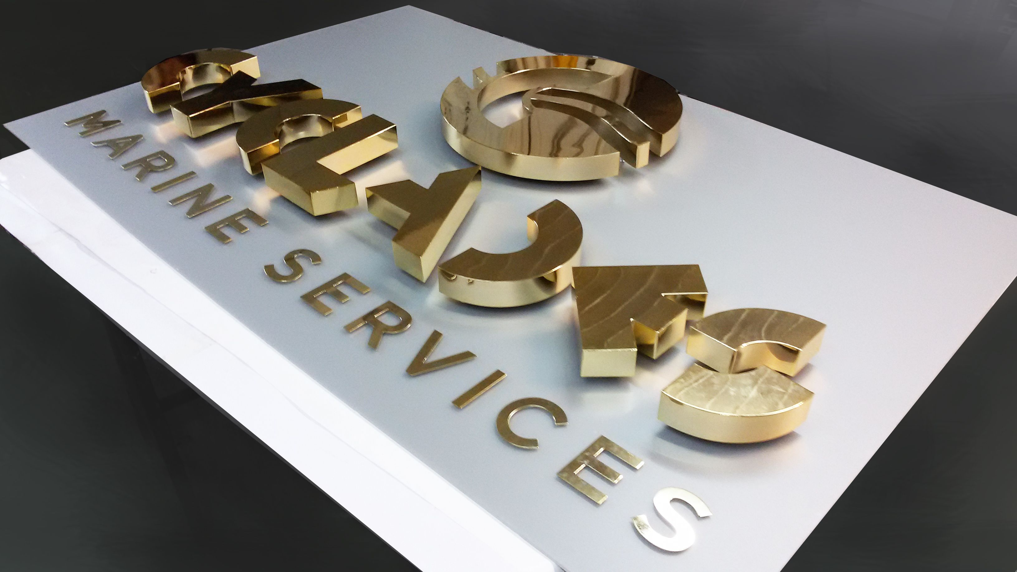 Cyclades - marine services Gold - plating signage indoor