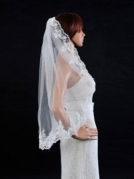 High Quality Veil With Lace Color Ivory 75% off retail