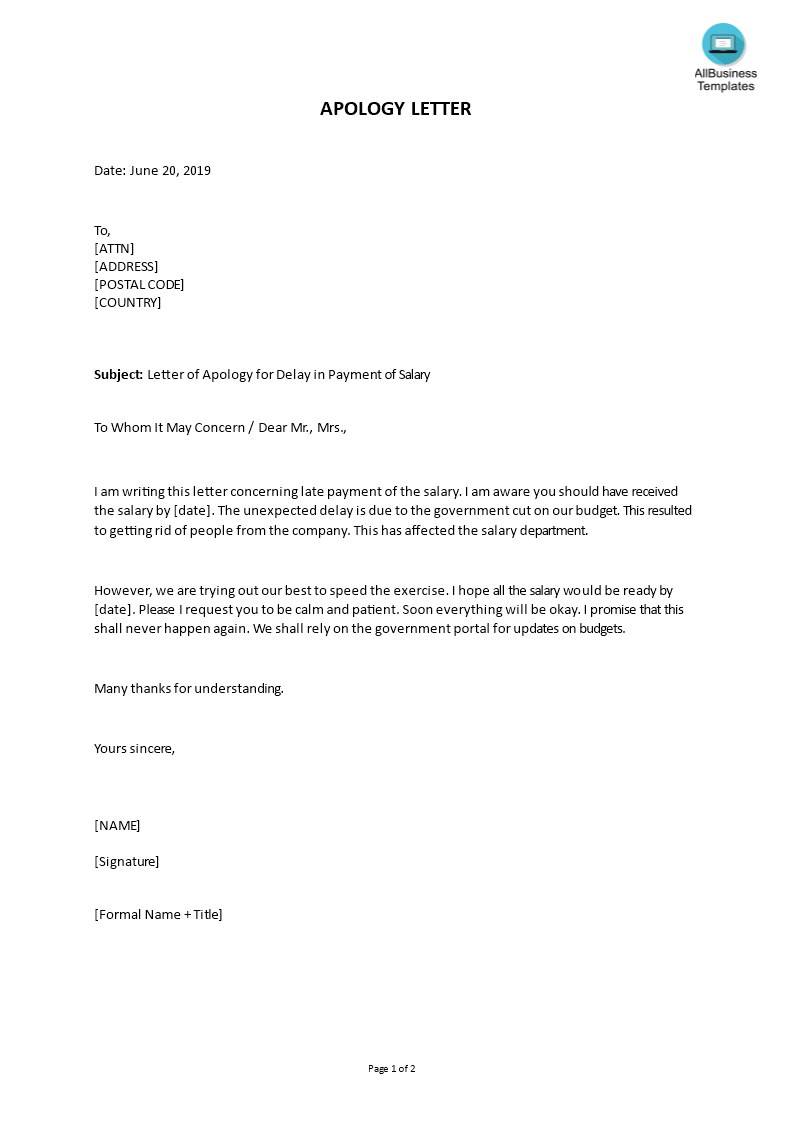 Do You Need A Friendly Apology Letter About Late Payment Of Salary Download This Well Crafted Letter Of Apology For Delay Lettering Letter Templates Templates