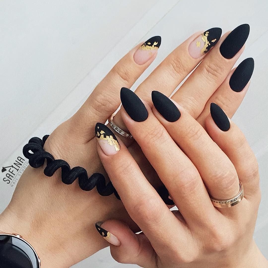 Safina Elvira On Instagram Black Nails With Glitter Black Nail Designs Almond Acrylic Nails