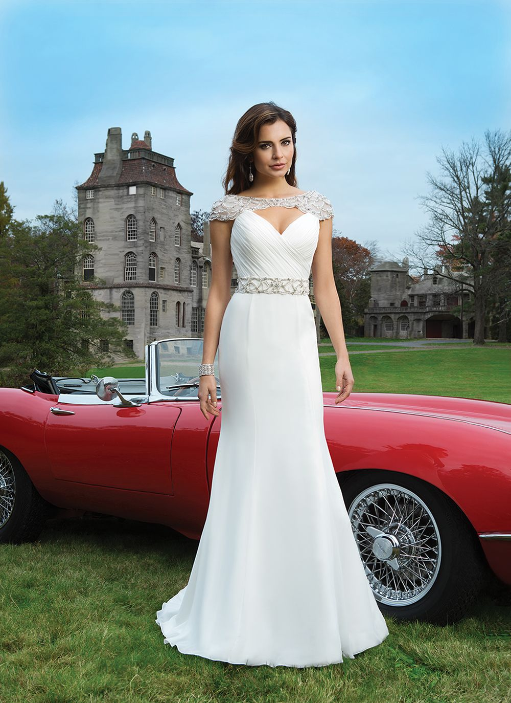 Justin alexander wedding dresses style is a chiffon fit and