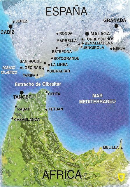 Estrecho de Gibraltar Map Card Spain Marbella spain and Morocco