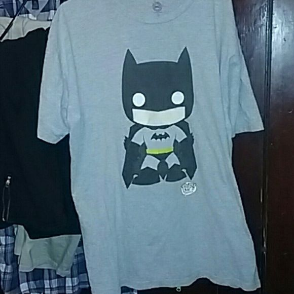 Batman,Funko POP t-shirt Hi ! This is a very cute funko pop with the batman character on it! It is pre-loved but clean haven't worn it in awhile some fading but not much hence,the really cheap price! DC comics Tops Tees - Short Sleeve