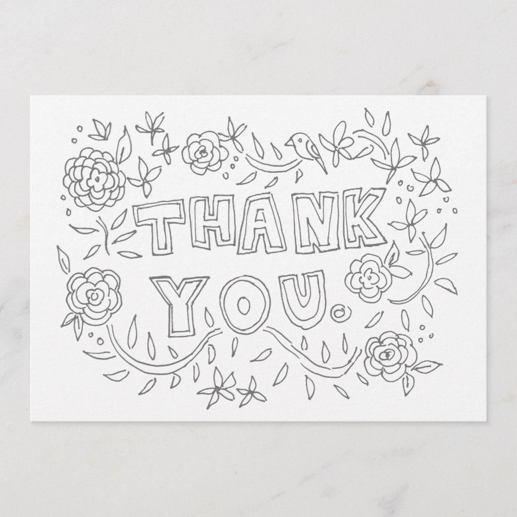 Hand Drawn Floral Thank You Coloring Card Zazzle Com Color Card Valentines Day Coloring Page Hello Cards