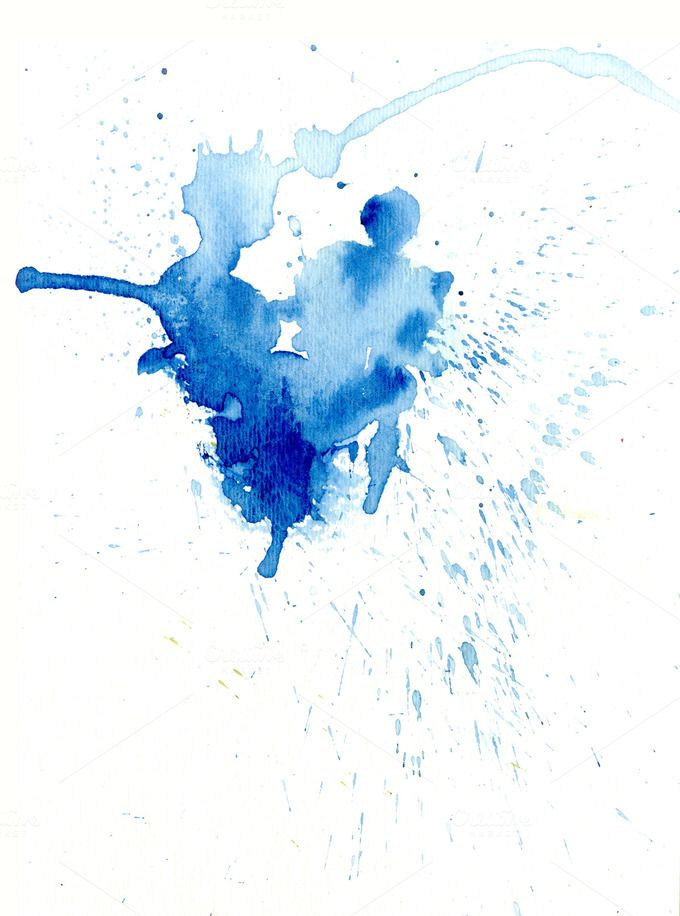 Check Out Blue Watercolor Splash By Mousemade Photos On Creative