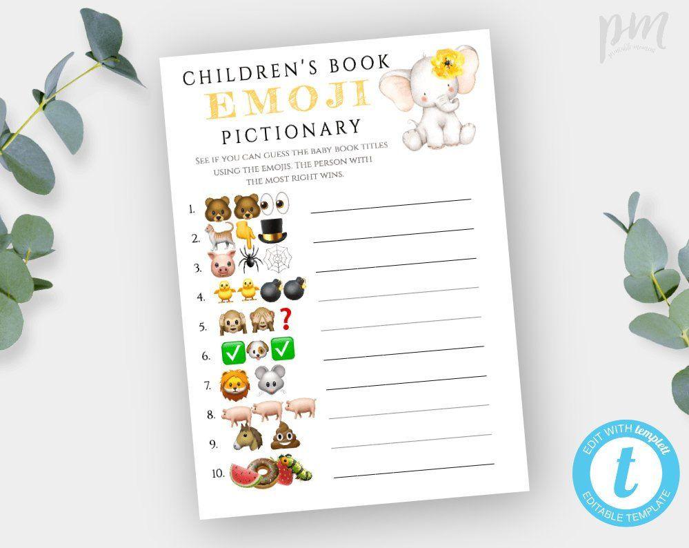 Yellow Elephant Children's Book Emoji Pictionary Game
