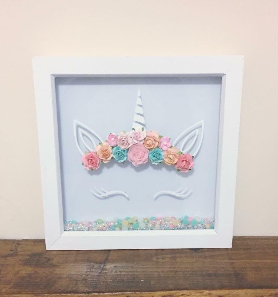 Children S Party Box Wall Art For Girl S Bedroom: Unicorn Frame 3D Paper Flower Unicorn Frames Available Now