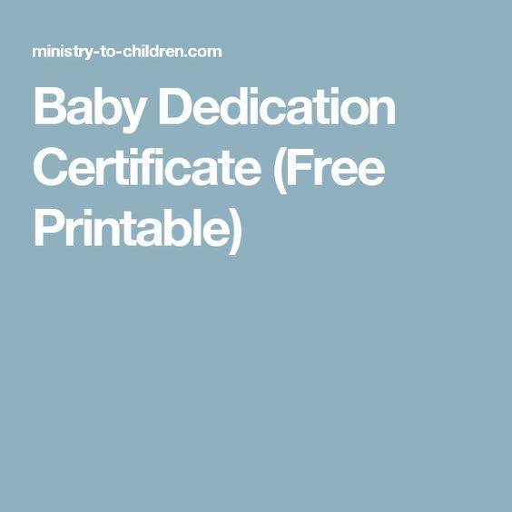 Baby Dedication Certificate Free Printable  Baby Dedication