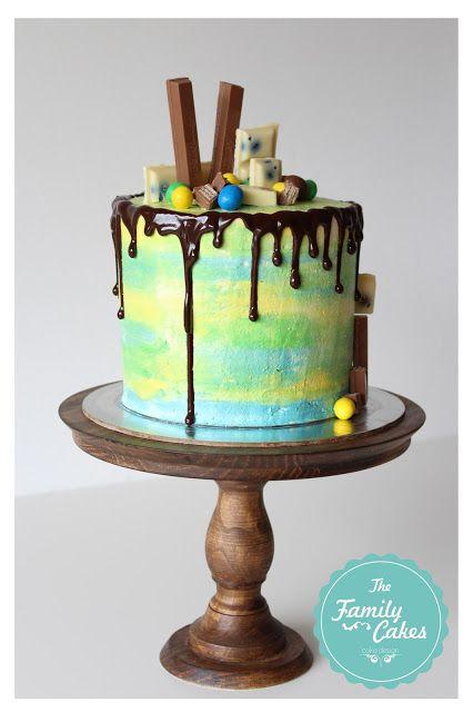 Buttercream cake with ganache drip  The Family Cakes: Experiências em Buttercream :)