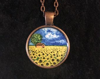 Sunflower pendant necklace things we love from etsy read for sunflower pendant necklace things we love from etsy read for invitation pinterest aloadofball Gallery