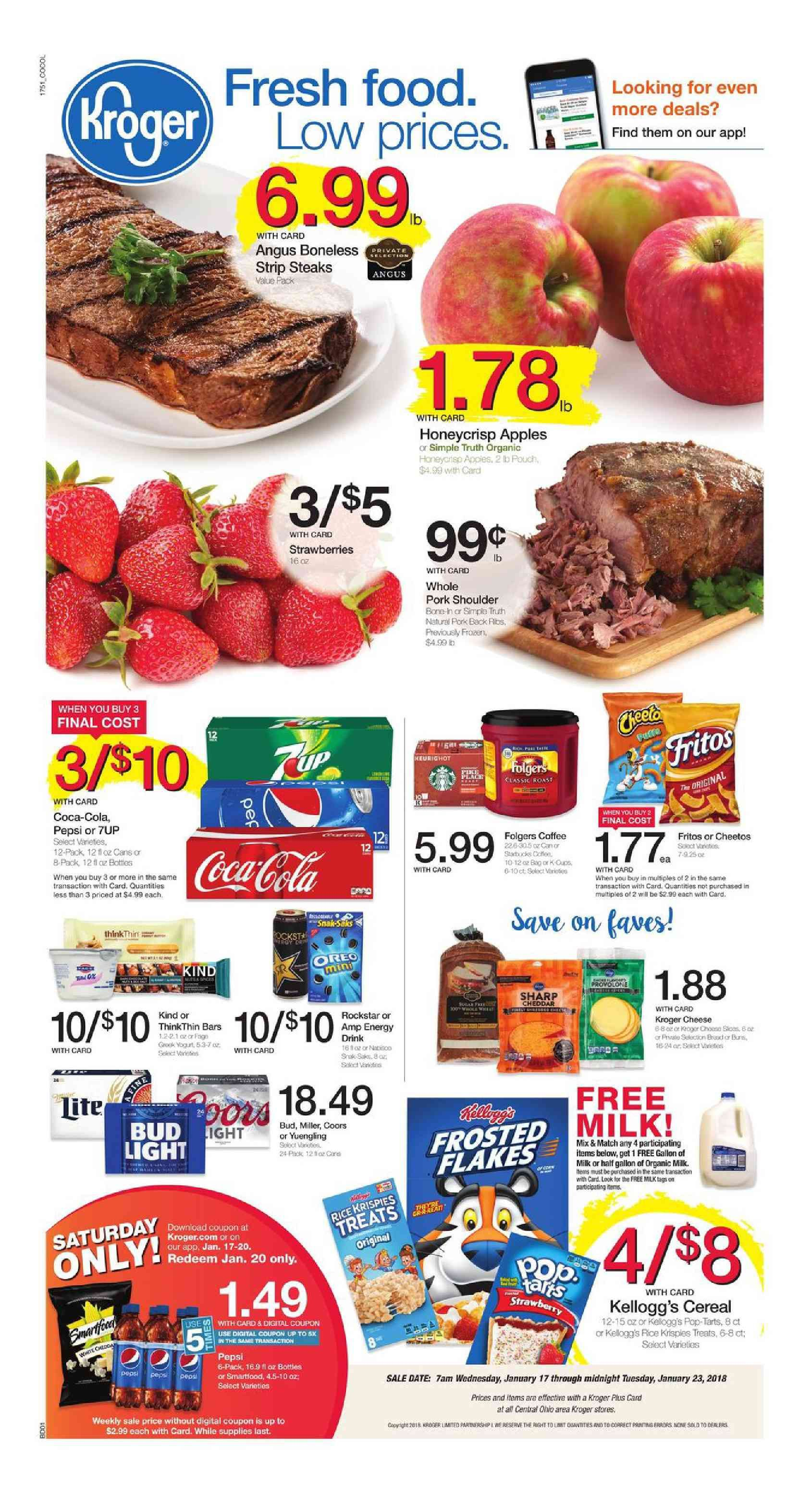 Kroger Weekly Ad January 17 23 2018 Search Latest Kroger Weekly Ad Here And Find Digital Coupons Free Friday Download Powerb Grocery Ads Kroger Food Menu