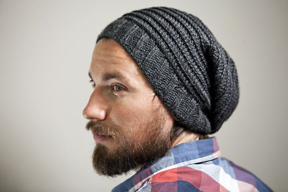 Mens Knitted Hat Patterns : Mens Knit Slouchy Hat in Charcoal with Spiral Pattern ...