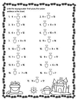 End of the Year Summer Addition Subtraction within 20