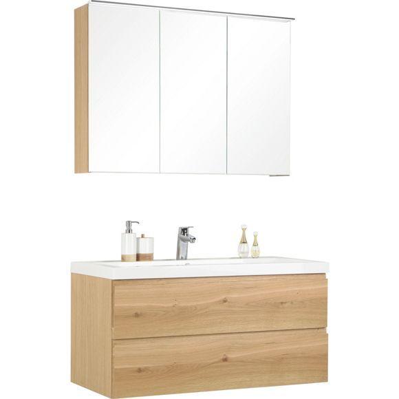 Modernes Badezimmer Mit Grossem Spiegelschrank In Eichefarben Badezimmer Spiegelschrank Bad Und Bad Waschtisch