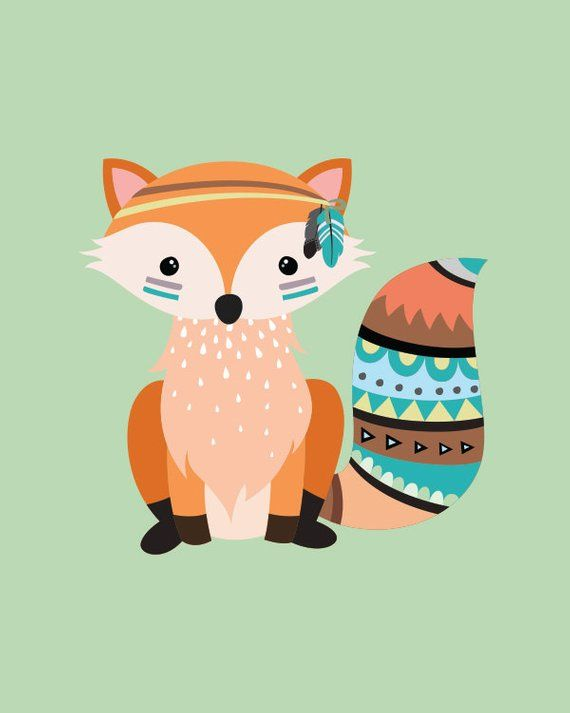 Tribal fox print, 5 x 7 in, 8 x 10 in, Baby art, Nursery wall print, Toddler room decor, Kids room a #toddlerrooms