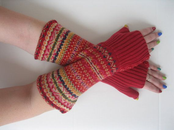Cotton Fingerless Gloves - Red Fair Isle Texting Gloves Wrist ...