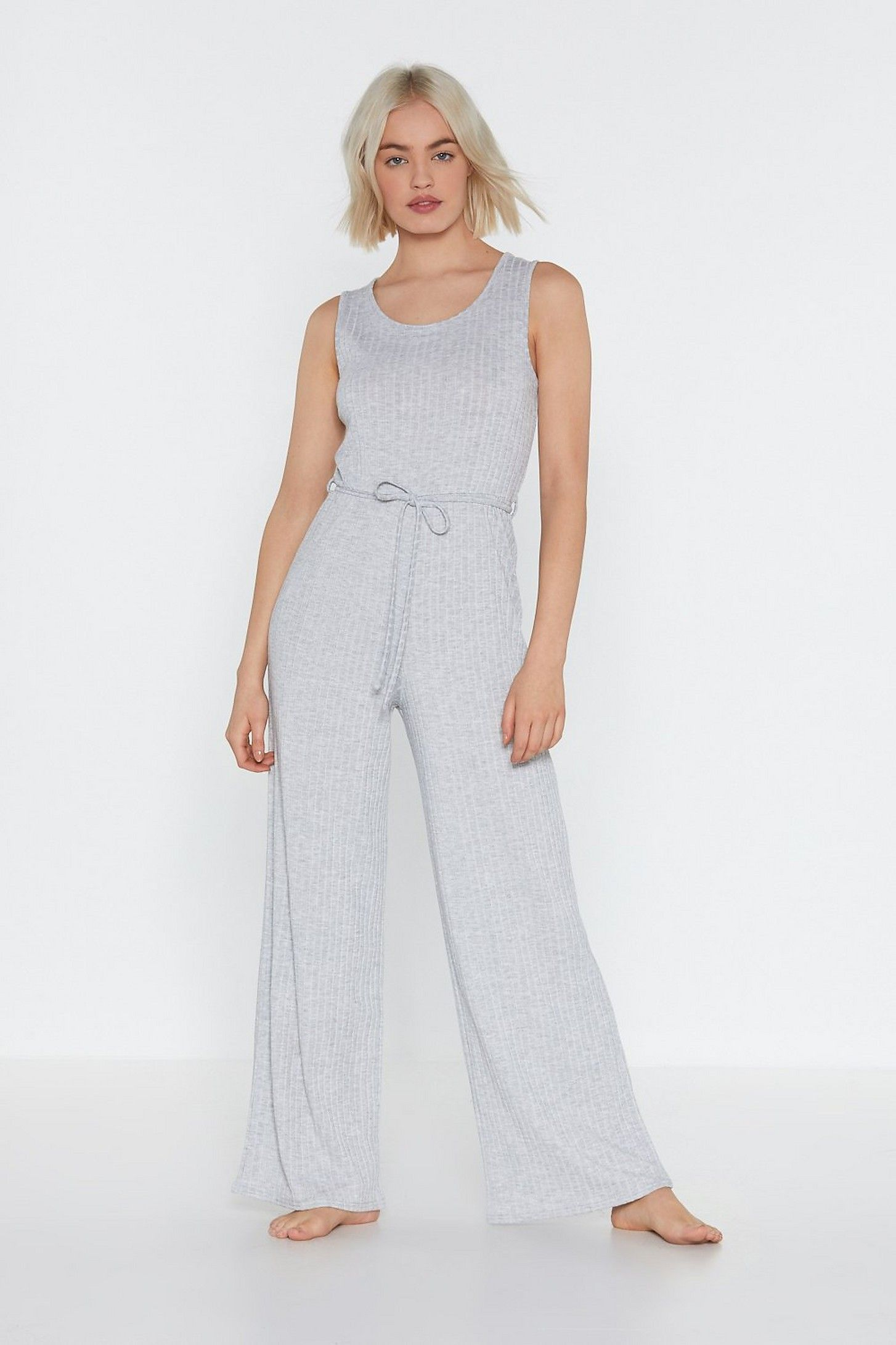 0fee64299a6 That Tie of Day Ribbed Wide-Leg Lounge Jumpsuit