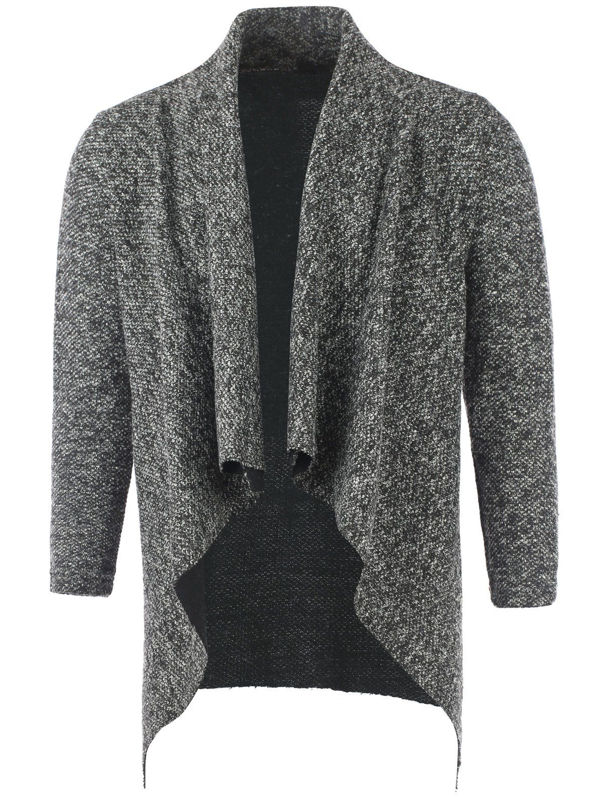 Asymmetrical Heathered Open Front Cardigan #CLICK! #clothing ...