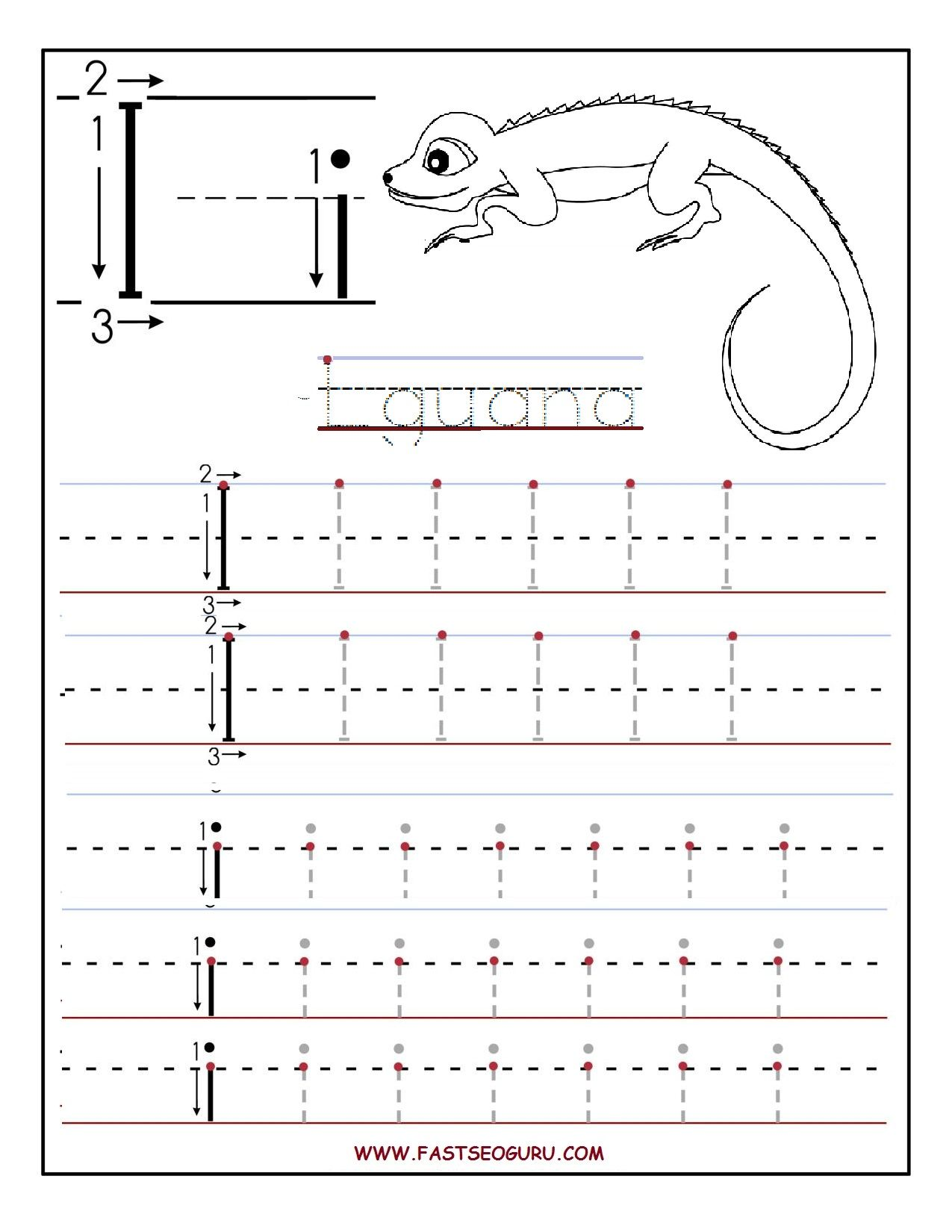 Printable Letter I Tracing Worksheets For Preschool