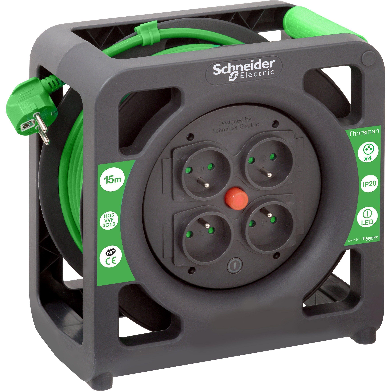 Enrouleur De Cable Electrique Bricolage L 15 M 1 5 Mm Schneider Enrouleur De Cable Cable Electrique Et Electrique