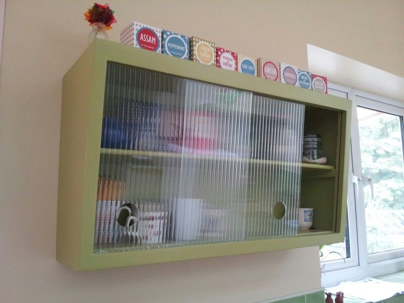 My Upcycled Vintage Retro 1950s 1930s Inspired Kitchen Wall Units Painted Green With Sliding Reeded Glass Kitchen Wall Units Sliding Glass Door Kitchen Wall