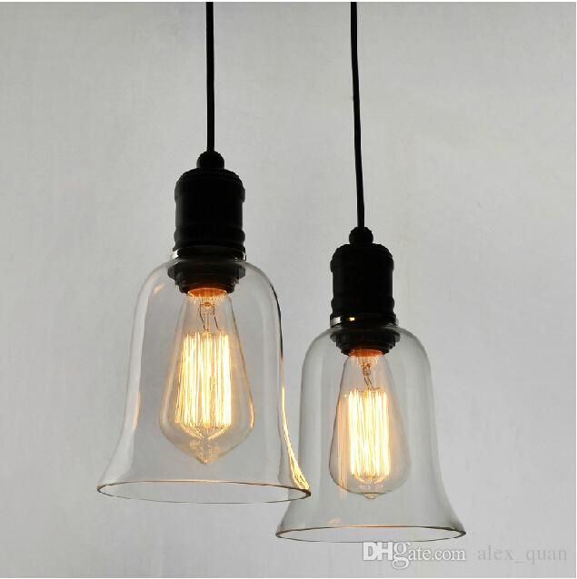 Modern Crystal Bell Glass Pendant Lights Industrial Style Lamp Edison Bulbs Lighting Fixture Dining Room Lamps