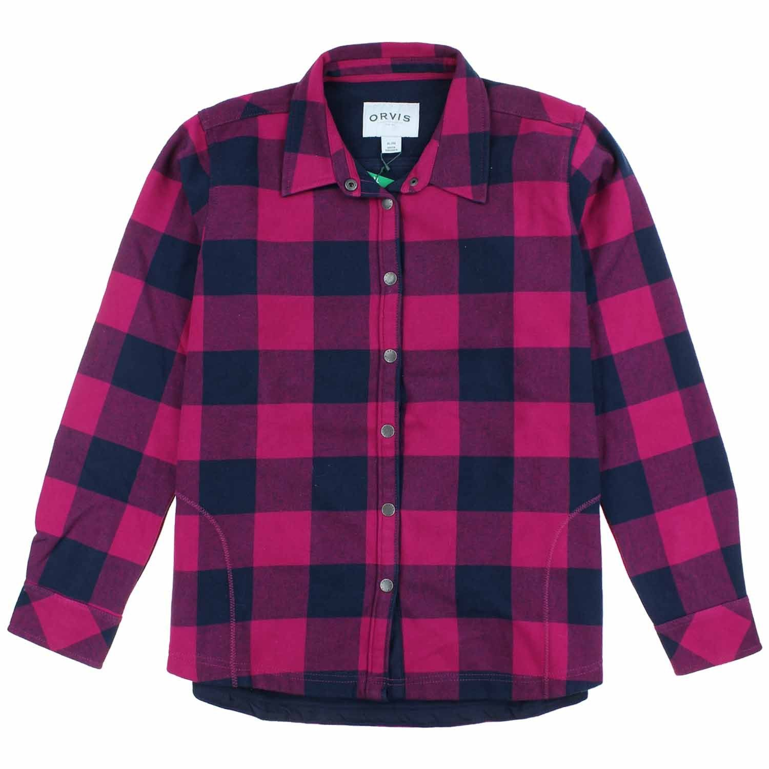 d8fac1bfe3 Orvis Womens Fleece Lined Flannel Shirt Jacket (Hot Pink Navy Buffalo  Check