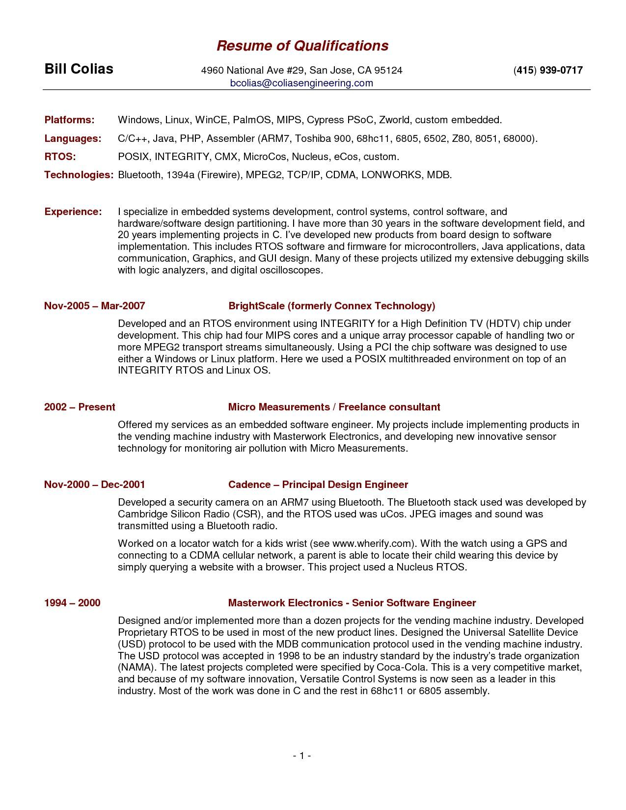 Resume Format Qualifications (With images) Resume examples