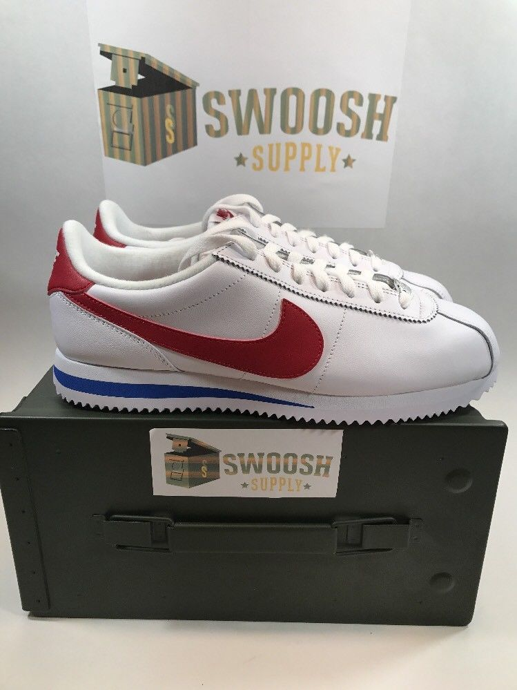 ec7db5a515a3 NIKE CORTEZ BASIC LEATHER OG SZ 8 FORREST GUMP WHITE VARSITY RED 882254 164   Nike  AthleticSneakers