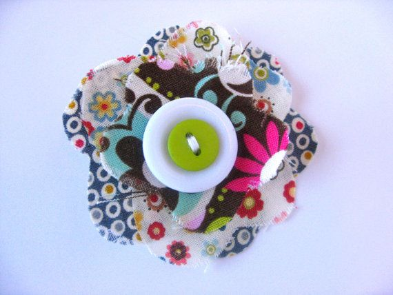One of a Kind Fabric Flower Clip
