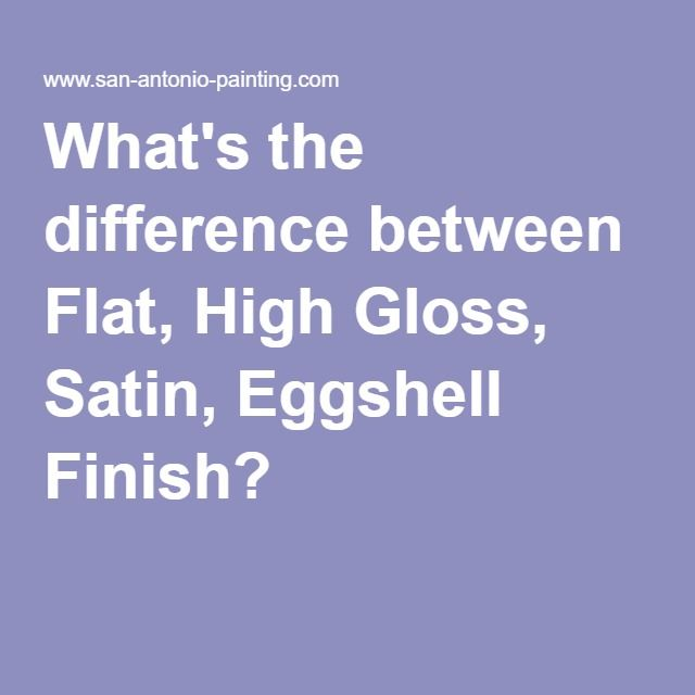 Whats The Difference Between Flat High Gloss Satin Eggshell