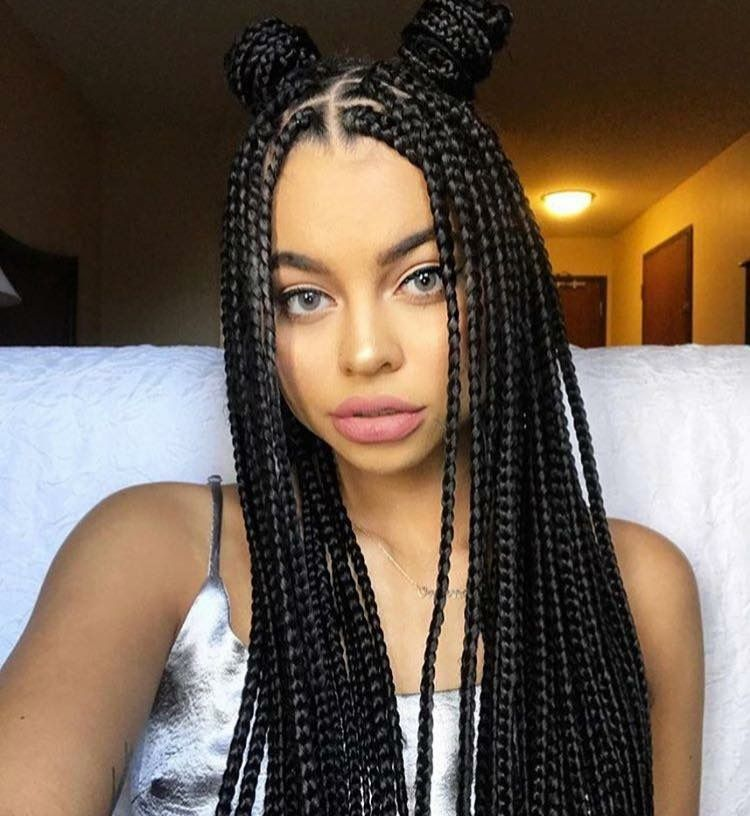 Box Braids Hairstyle Brilliant Like What U See Follow Me For More Sanayadiamonds  Buns And