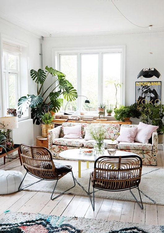 Modern Living Room With Lots Of Green Plants Sfgirlbybay