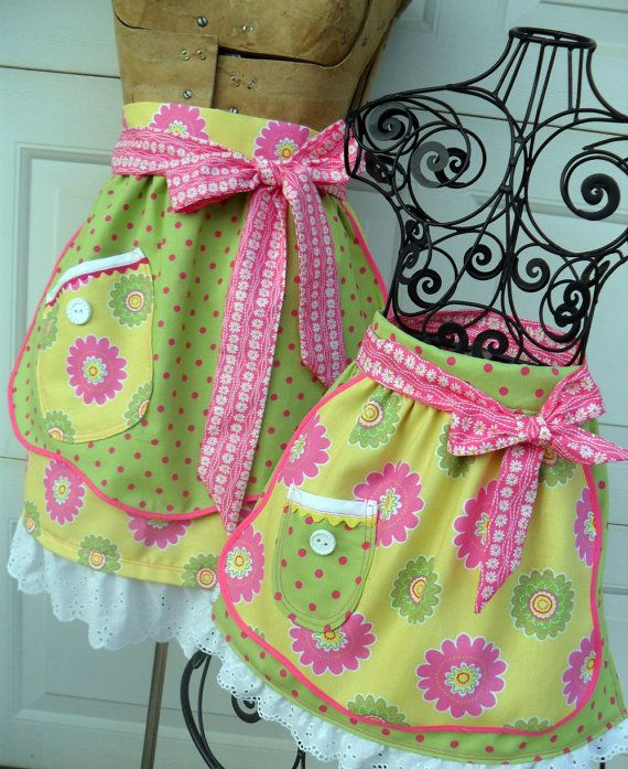 Matching Mother Daughter Half Apron Set in Flowers and Polka Dots by Aprons2tie4