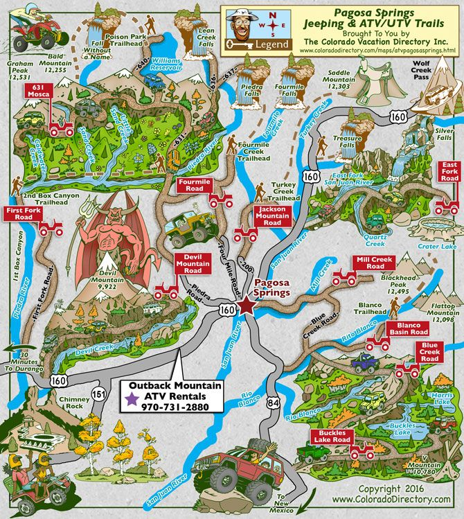 Pagosa Springs ATV Jeeping Trails Map CO Colorado Vacation