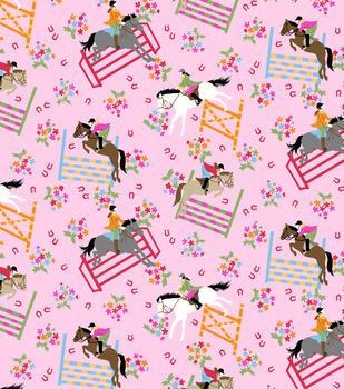 Snuggle Flannel Fabric-Horse Show Pink