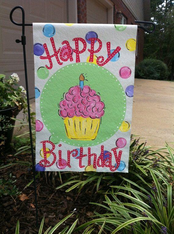 Burlap Decor, Birthday Garden Flags