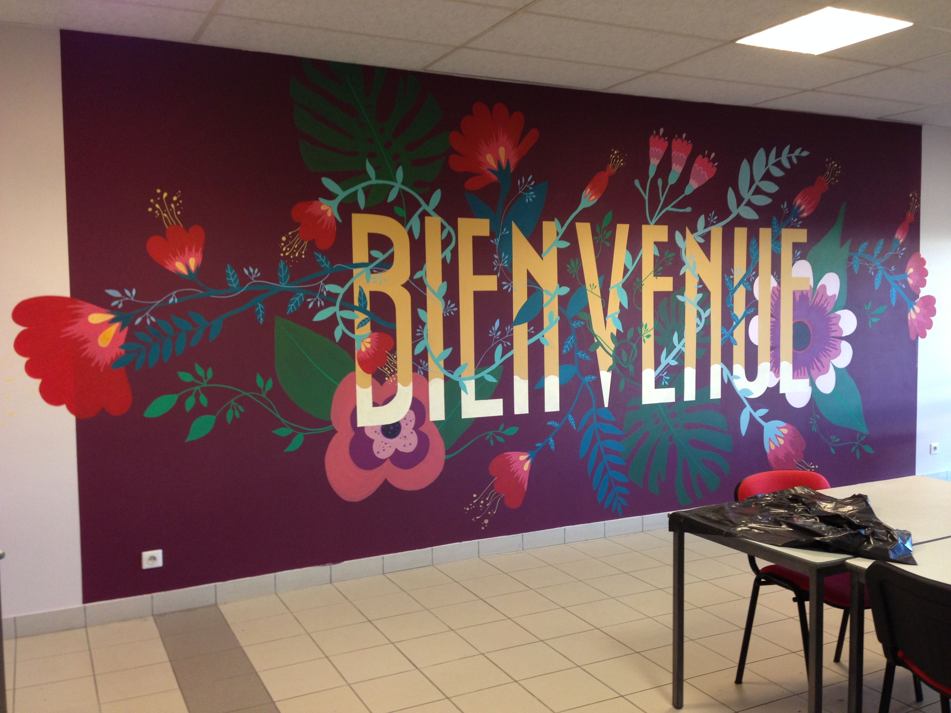 Peindre Une Fresque Sur Un Mur fresque murale décorative typo fleur | fresque murale