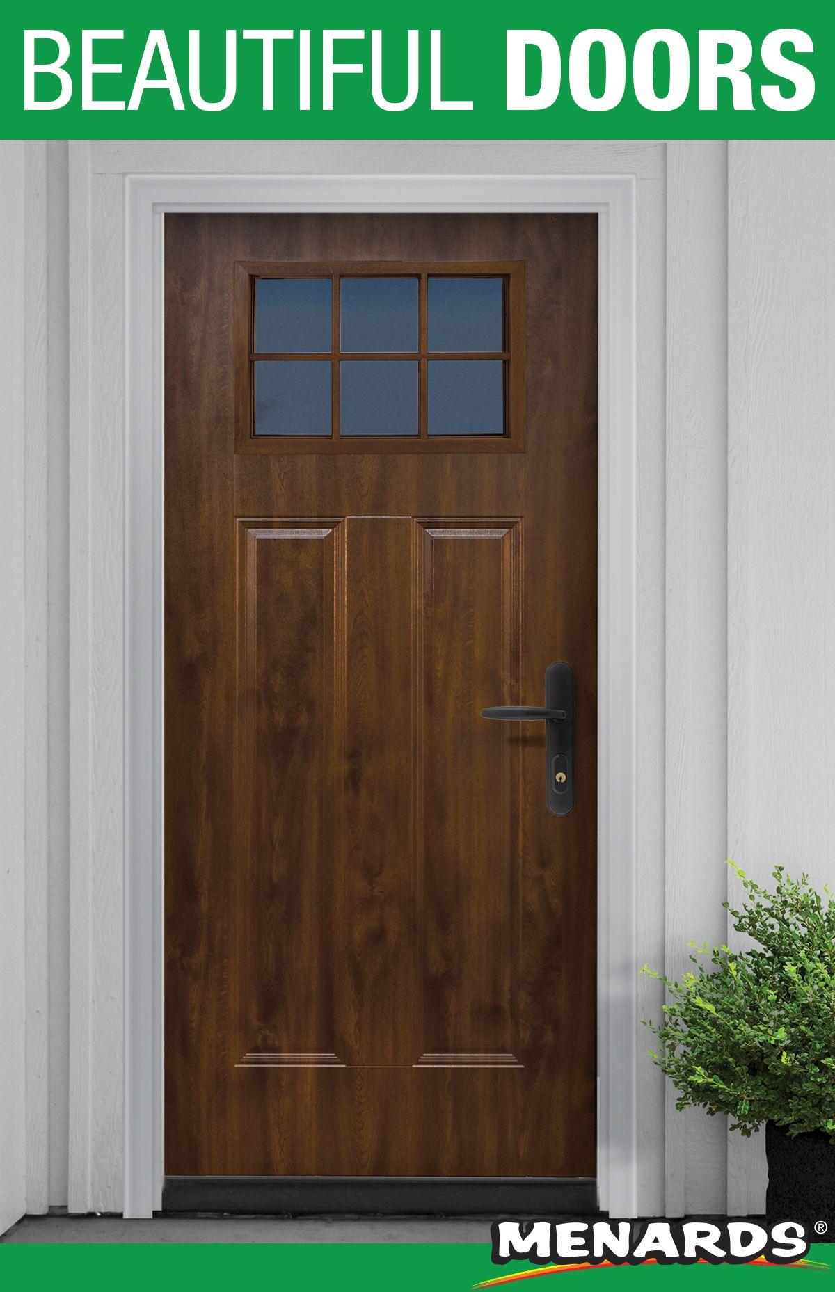 Add Beauty And Quality To Your Entryway With A Mastercraft Door This Mission Steel Door Comes Prefinished In A Dark Oak Woodg Beautiful Doors Oak Doors Doors