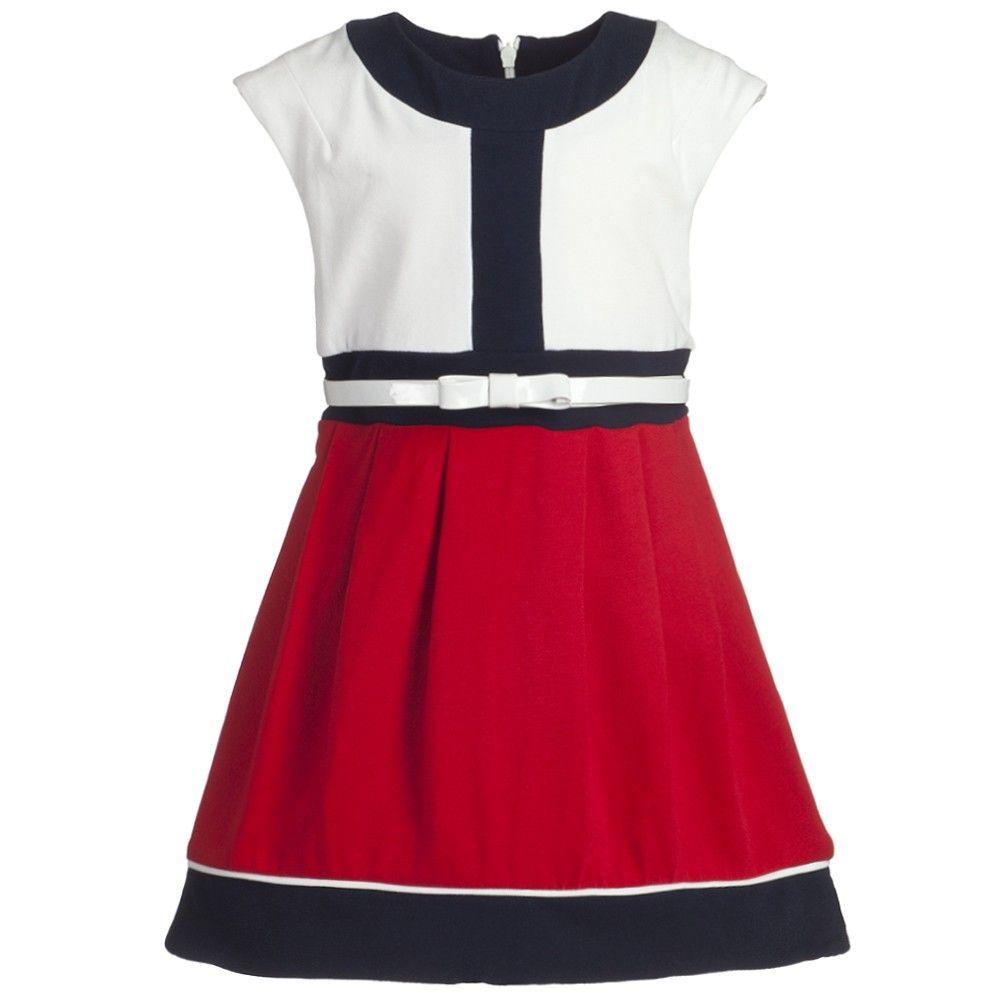 Red & White Cotton Dress - Girl | Childrensalon