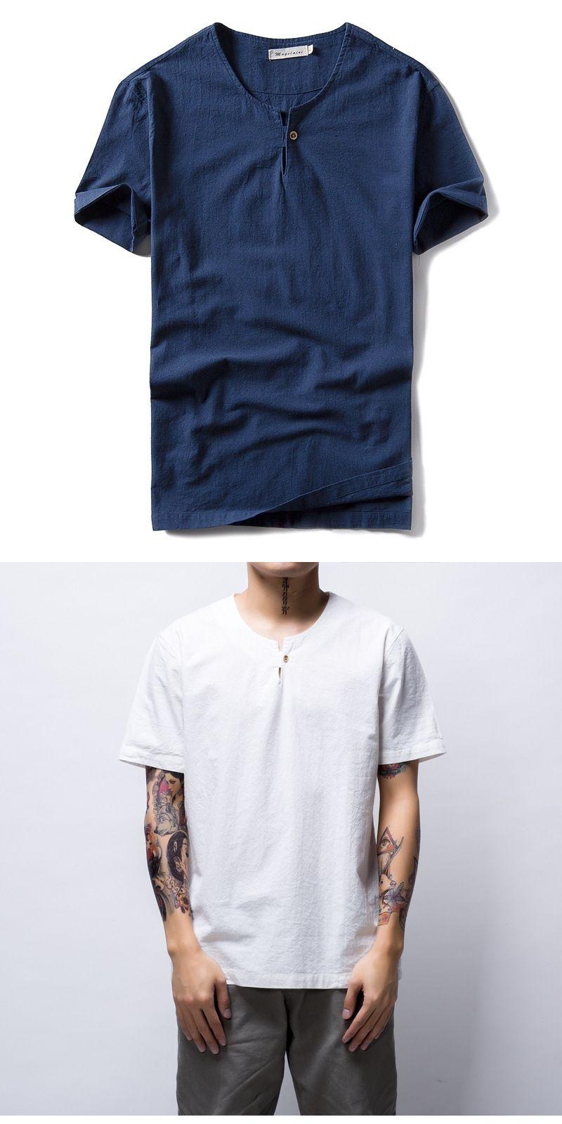 Italy Style Cotton Linen T Shirt Men Summer Casual Men T Shirt Straight O