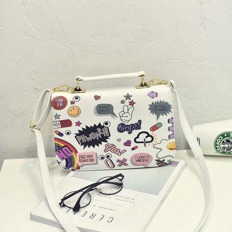 ... the best attitude d5a31 8bea7 Women leather handbags cartoon printing luxury  handbags fashion tote bag famous ... 450255953a726