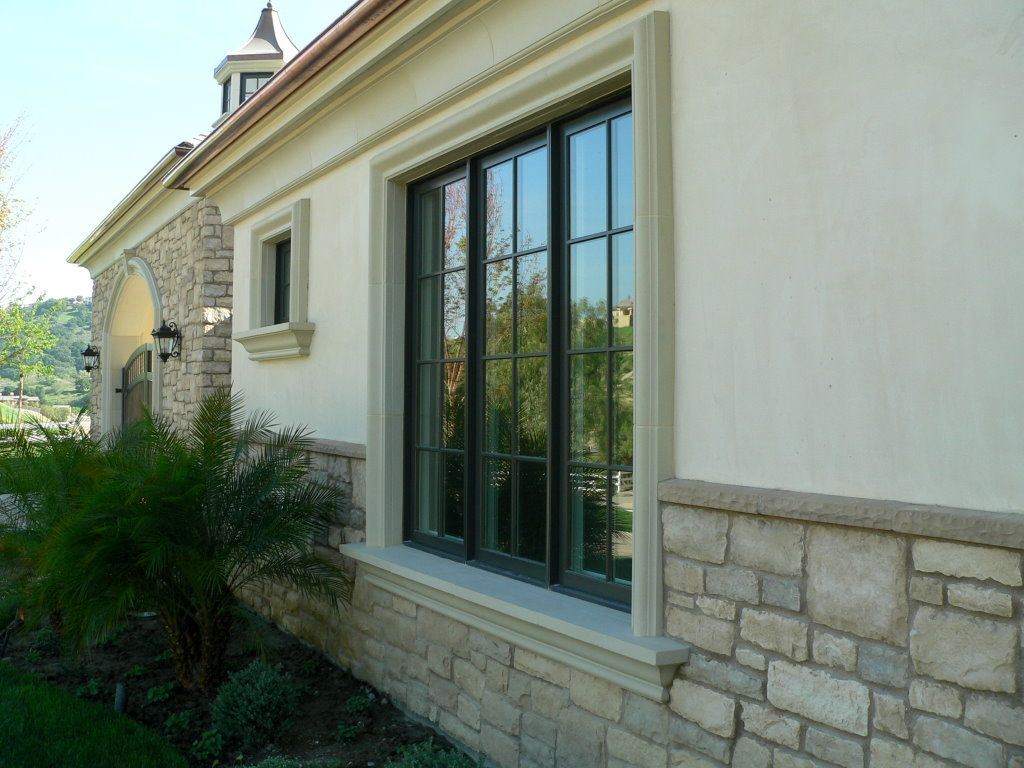 Modern windows old stone house cast stone sill and for Contemporary exterior window trim