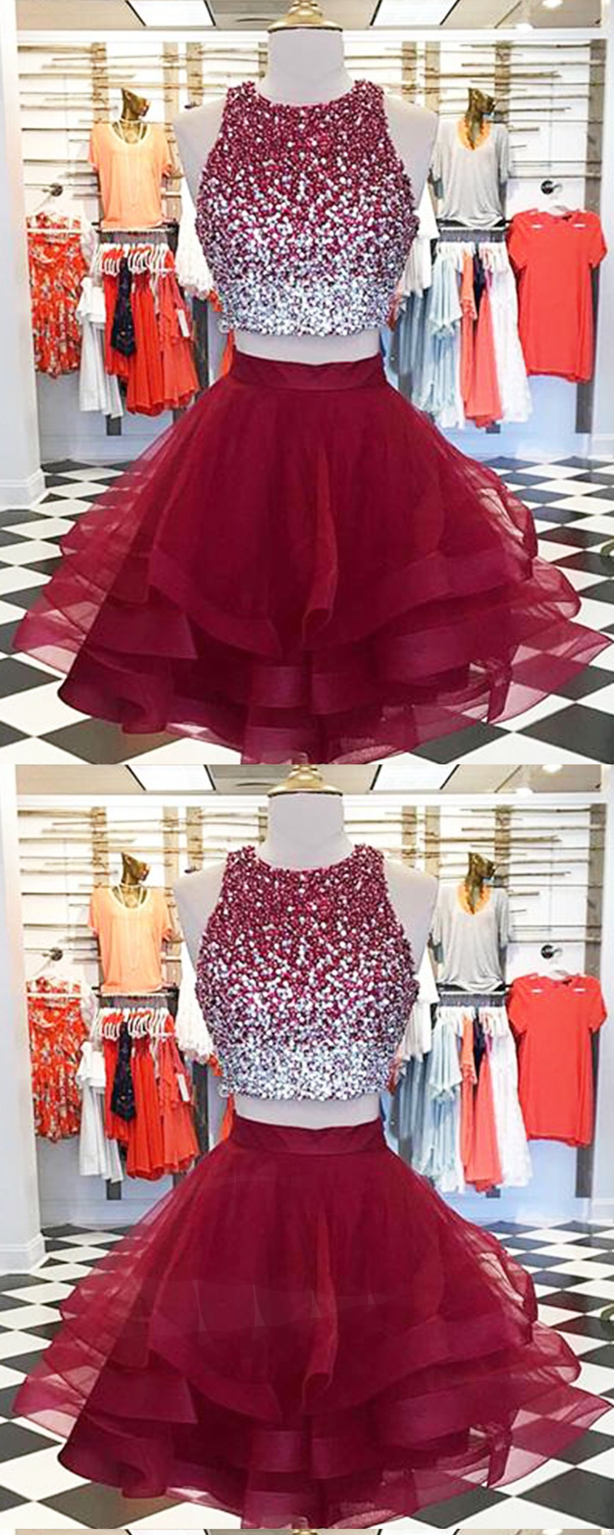 Burgundy tulle two pieces short homecoming dress with sequins in