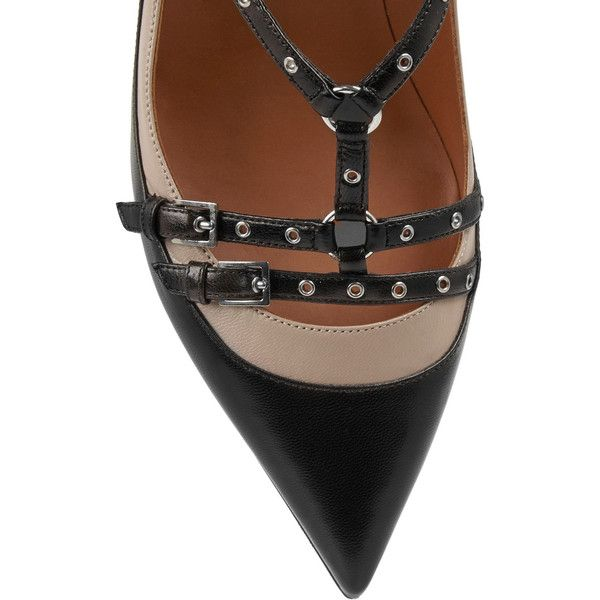 Valentino Love Latch eyelet-embellished leather pumps ($905) ❤ liked on Polyvore featuring shoes, pumps, embellished shoes, decorating shoes, strappy pumps, leather shoes and strap shoes