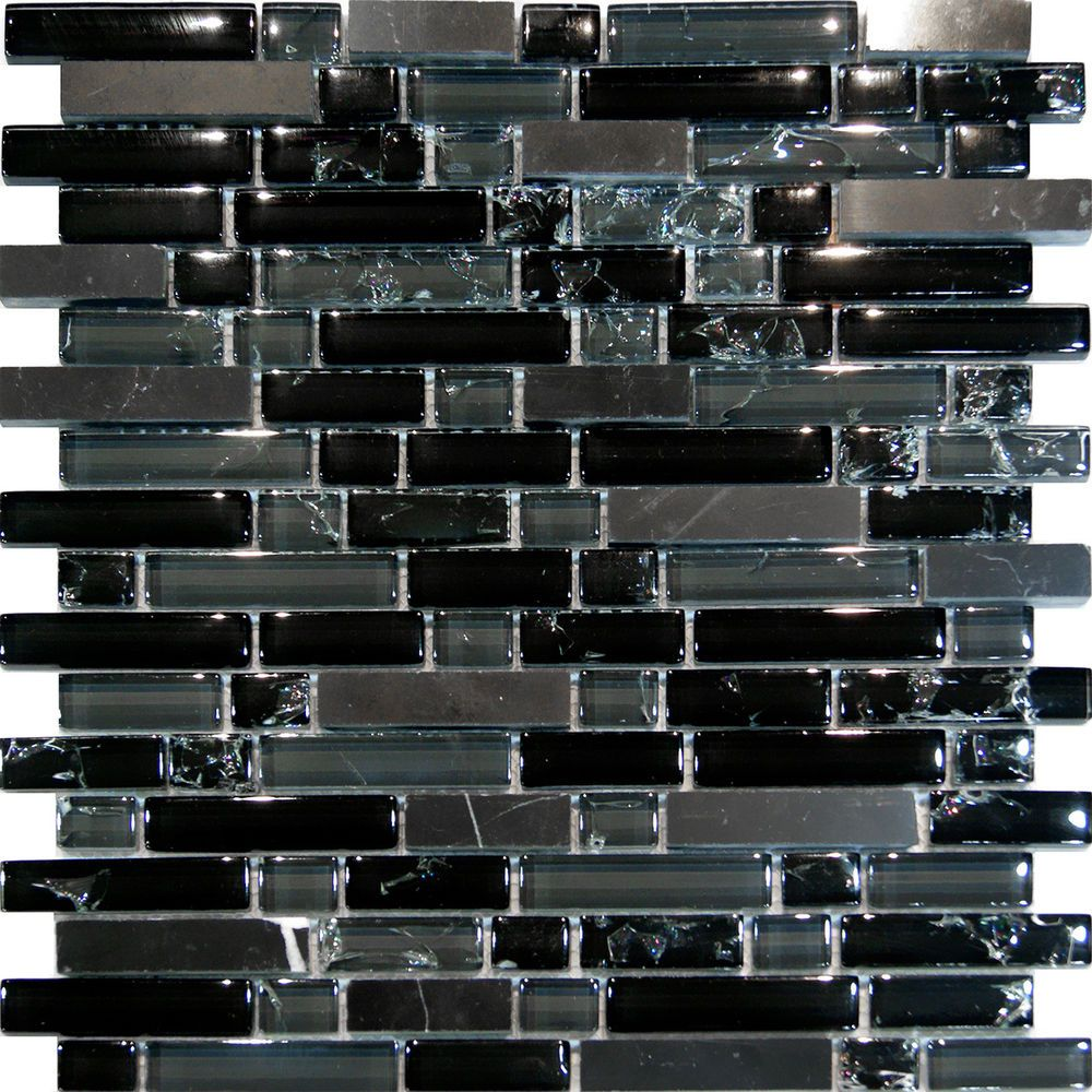 Sample Green Brown Crackle Glass Subway Mosaic Tile: Sample-Black Marble & Crackle Glass Linear Mosaic Tile